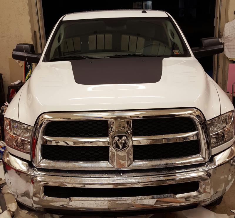 Vinyl Wrapped My Hood Cow Tonight Dodge Cummins Diesel Forum