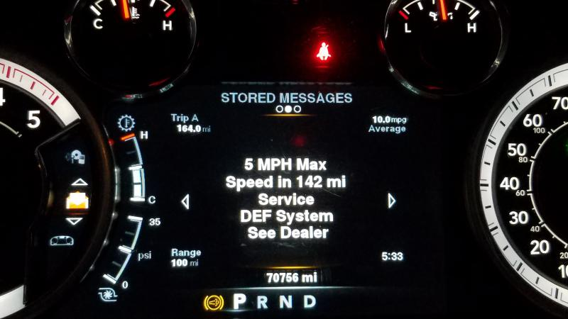 DEF system service required see dealer 150 miles till limp mode
