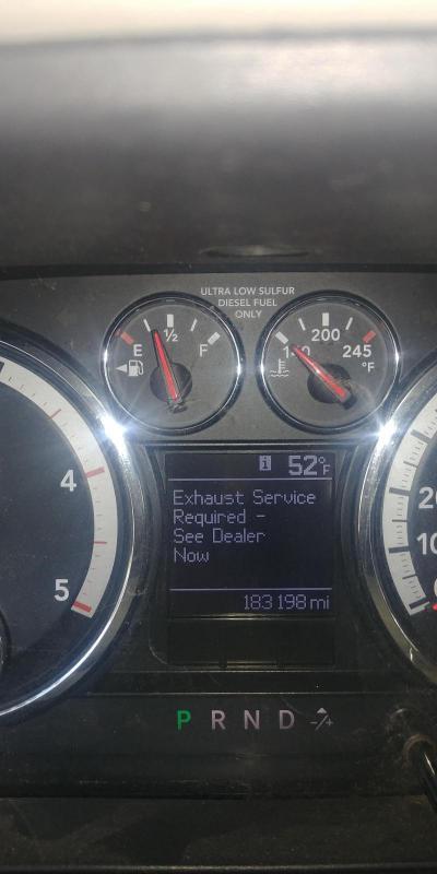 Exhaust Service Required See Dealer Now - Dodge Cummins